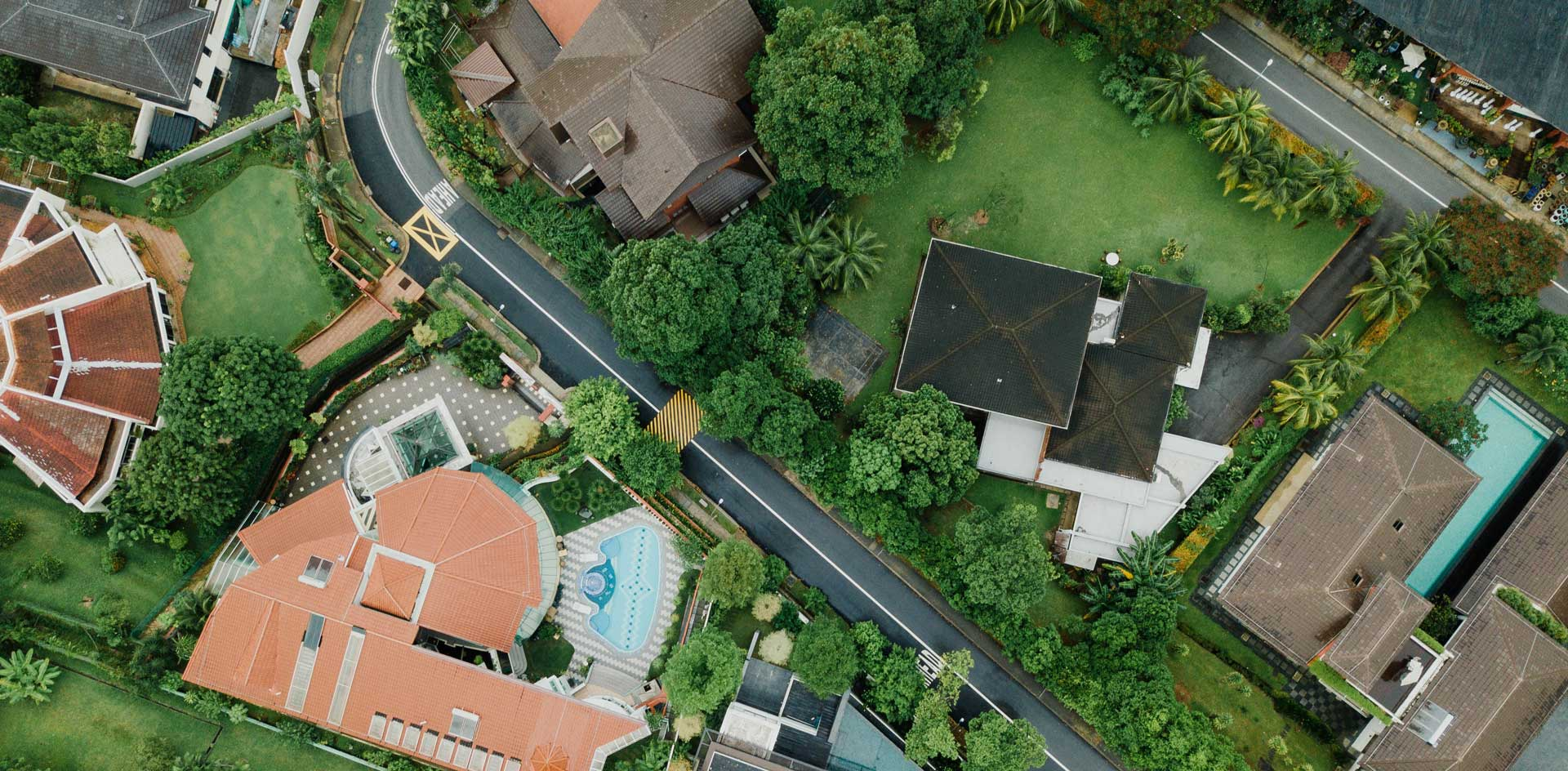 top down aerial view of homes